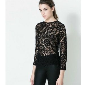 Zara Black Crochet/Lace Long Sleeve Top Size S